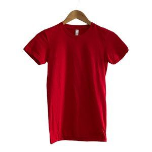 American Apparel Unisex Red Crew Neck T Shirt US S